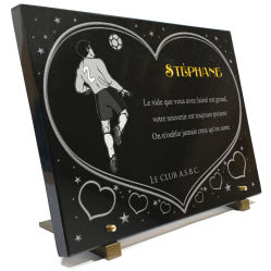 Plaque funeraire Ballon-de-football, footbaleur, gardien-de-but, terrain-de-foot