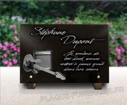 Plaque funéraire à personnaliser pour guitariste avec ampli guitare électrique.