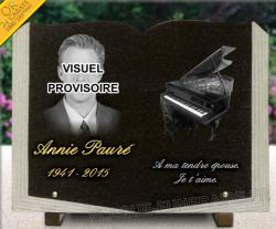 Plaque funéraire avec photo gravée dans le granit, forme livre avec dessin piano et dorure