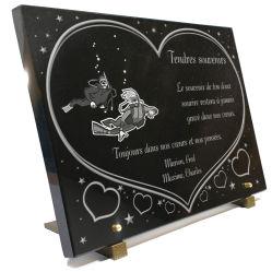 Plaque coeurs avec dessin plongée sous marine, 2 plongeurs en combinaison