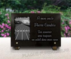 Plaque granit avec décor de piste de course à pieds pour coureur et athlète.