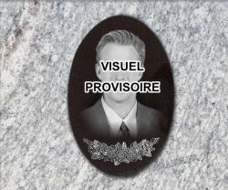 Plaque funéraire photo de type médaillon en granit gravé inaltérable.