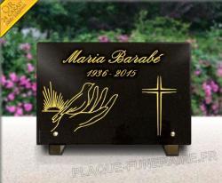Plaque funéraire granit gravé, or 24 carats à personnaliser. Colombe, croix