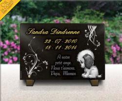 Plaque funéraire enfant avec dorure, nounours et fleurs