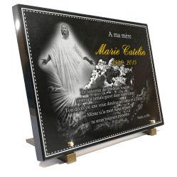 Plaque mortuaire grand format avec bordure déco, jésus, ciel  et dorure 24 crts