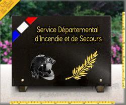 Plaque funéraire sapeur pompier, commémorative SDIS, granit gravé et doré 24 carat