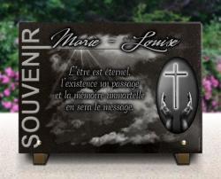 Plaque mortuaire croix catholique, rayons de soleil et nuages. Colec. souvenir.