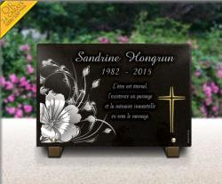 Plaque mortuaire à personnaliser. Fleurs modernes et croix dorée 24 carats.