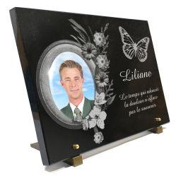 Plaque mortuaire personnalisable  scrapbooking-fleurs-papillons