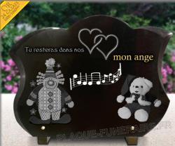 Plaque funéraire pour enfants ou bébés à personnaliser avec motifs, texte en or
