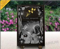 Plaque de sépulture à personnaliser avec gravure en or 24 carats et écureuil
