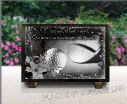 Plaque de cimetière personnalisable avec étoiles, fleurs, dessin de golf