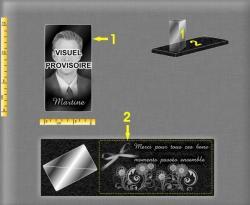 Plaque funéraire moderne : Socle en granit et bloc de verre avec portrait