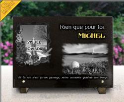 Plaque funéraire personnalisable sur le thème du sport et cadre scrapbooking