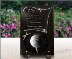 Plaque funéraire personnalisable avec noeud en satin, parchemin et balle de golf