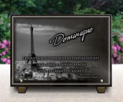 Plaque funéraire Paris en granit personnalisée avec tour Eiffel paris, textes et bordure décorative