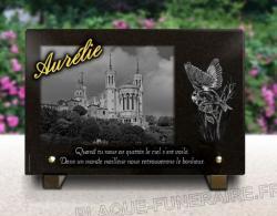 Plaque funéraire Lyon personnalisable. Thème Lyon N.D. de Fourvière, mésange et dorure 24 cts