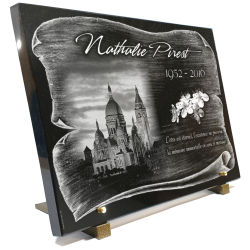 Plaque de cimetière avec vraie gravure parchemin
