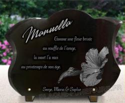 Très belle plaque funéraire à personnaliser avec fleur d'hibiscus et oiseau colibris.
