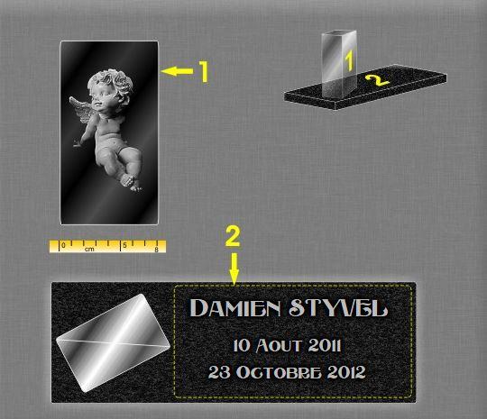 Plaque funéraire verre cube-verre . 17 x 30 cm.
