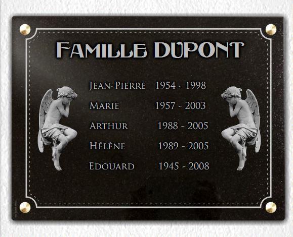 Plaque funéraire granit épitaphe . 30 x 40 cm.