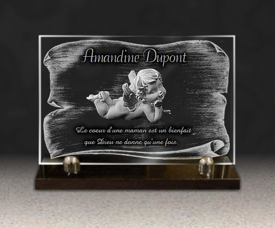 plaque fun raire ange et parchemin sur verre grav 20x30 cm. Black Bedroom Furniture Sets. Home Design Ideas