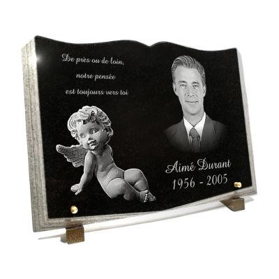 Plaque funéraire granit livre ouvert . 25 x 35 cm.