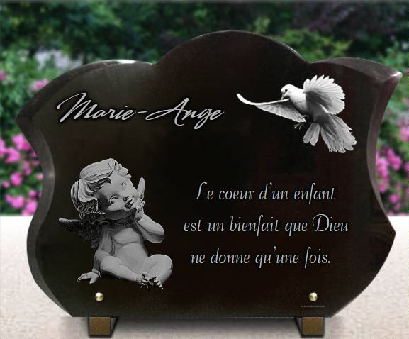 plaque fun raire galb e avec colombe et ange personnaliser. Black Bedroom Furniture Sets. Home Design Ideas
