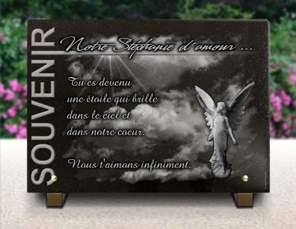 Plaque funéraire moderne en granit avec ange