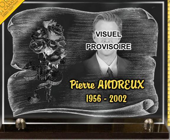 Plaque funéraire verre  bouquet de fleurs avec roses, dorure. 30 x 40 cm.
