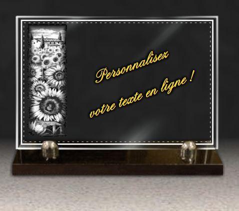 plaque personnalisable en verre avec fleurs tournesol. Black Bedroom Furniture Sets. Home Design Ideas