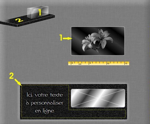 Plaque funéraire verre  . 10 x 30 cm.