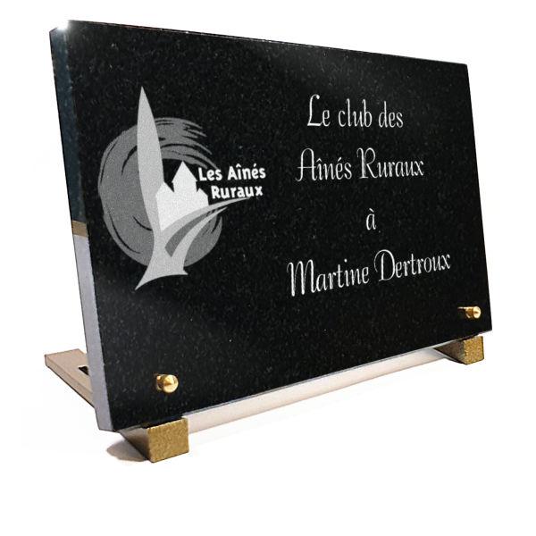 Plaque funéraire granit aînés ruraux club de retraités . 20 x 30 cm.