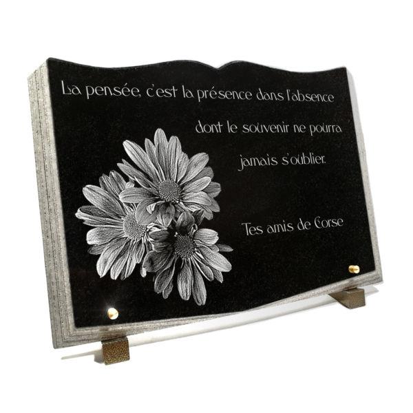Plaque funéraire granit livre ouvert granit galbé pages découpées. 25 x 35 cm.