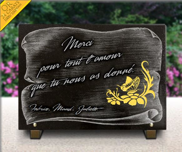 Plaque parchemin en granit avec dorure et gravure fleur - Plaque funeraire originale ...