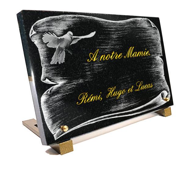 Plaque funéraire personnalisée parchemin colombe.