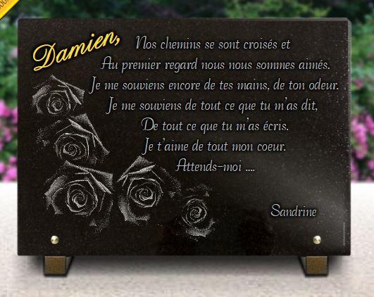 Plaque funéraire granit Dessin douquet de roses sur plaque funéraire. 25 x 35 cm.