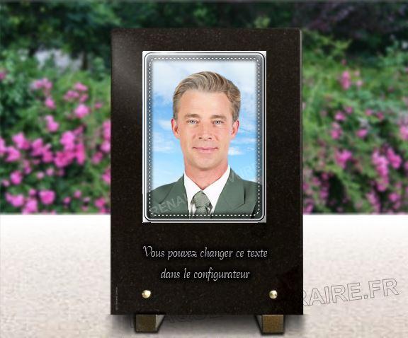 Plaque funéraire granit  plaque photo porcelaine personnalisable. 30 x 20 cm.