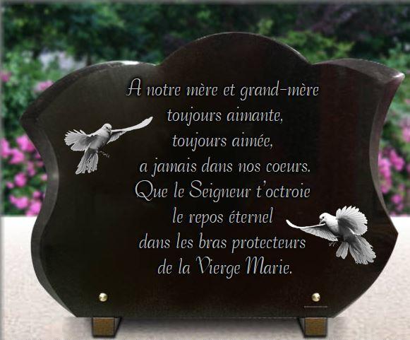 Plaque funéraire granit plaque galbée et chanfreinée forme tulipe . 30 x 40 cm.
