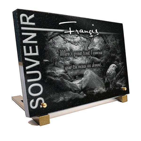 Plaque funéraire granit collection souvenir . 20 x 30 cm.