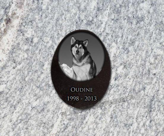 Plaque funéraire granit ovale . 20 x 15 cm.