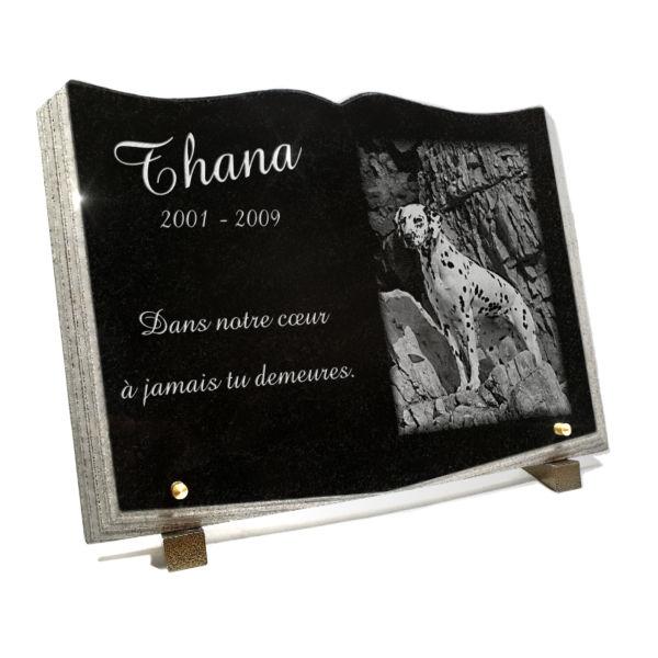 Plaque funéraire granit plaque livre ouvert . 25 x 35 cm.