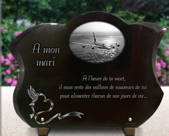 plaque fun raire galb e en granit grav 30x40 cm avion coeur colombe. Black Bedroom Furniture Sets. Home Design Ideas