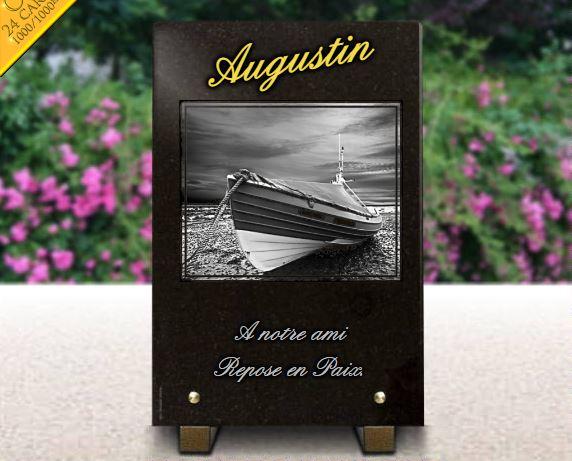 Plaque funéraire granit  plage bateau de pêcheur barque plage. 30 x 20 cm.