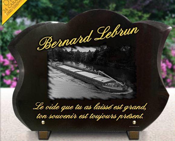 Plaque funéraire  péniche sur rivière peniche plaque tulipe batelier fluvial. 30 x 40 cm.