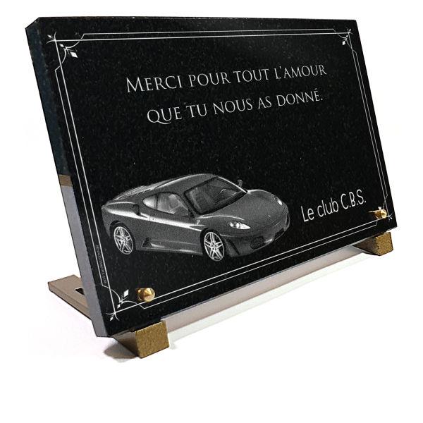 Plaque funéraire granit tuning voiture de collection ferrari f430. 20 x 30 cm.