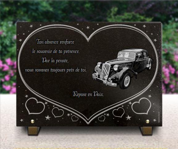 Plaque funéraire  Citroën Traction voiture de collection coeur étoiles. 25 x 35 cm.