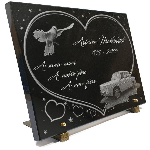 Plaque funéraire voiture de collection renault R8  étoiles colombe coeurs. 30 x 40 cm.