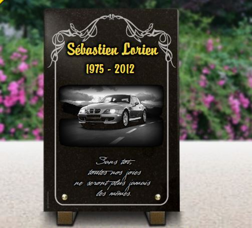 plaque fun raire personnalis e voiture bmw z bordure d co et dorure or 24 carats granit grav. Black Bedroom Furniture Sets. Home Design Ideas