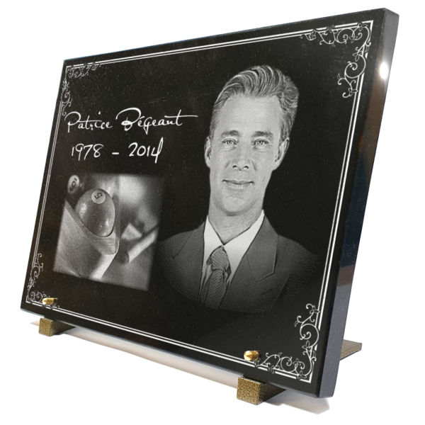 Plaque funéraire avec photo gravée à personnaliser.